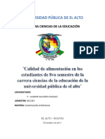 La Mala Alimentación en Los Estudiantes de La Universidad Pública de El Alto