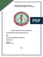 Informe de Procesos de Embutidos. 2019