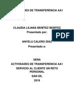 Actividades de Transferencia Aa1 Servicio Al Cliente