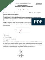 RESOLUÇÃO - prova final - Dinâmica I-