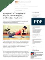 App Gratuito Para Preparo Físico e Perda de Peso Destinado a Mulheres