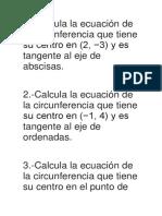 Ejercicios de Exponer 2do Parcial Circunferencia