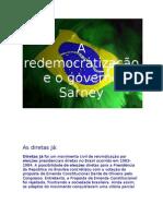 A redemocratização e o governo Sarney