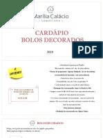 CARDÃ_PIO BOLOS - 2019