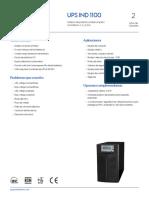 Especificaciones UPS-InD 1100 1-3 KVA