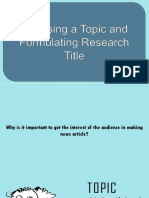 1.3 Choosing a Topic and Formulating Research Title