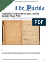 Subastan Manuscrito Inédito Del Poeta y Escritor Mexicano Amado Nervo - El Sol de Puebla