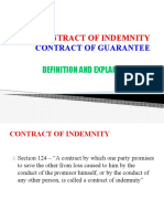 Contract of Indemnity and Gurantee