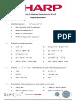 Worksheet 16 Algebraic Expressions Fro Term 3 Grade 10 Mathematics
