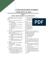 CTET Question Paper 2014 Paper-1