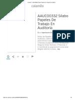 Silabo Papeles de Trabajo en Auditoría