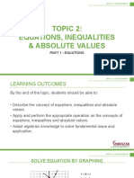 Topic 2 - Equations, Inequalities and Absolute Values