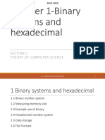 Binary Numbers and Hexadecimal Notes