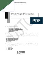 Chapter 1 MCQs on Principles of Interprettaton of Statute