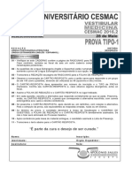 Cesmac-prova e Gabarito 1ºdia Tipo1 Medicina Cesmac 2016.2