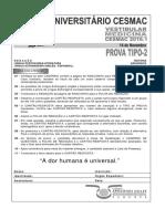 Cesmac-prova e Gabarito 1ºdia Tipo2 Medicina Cesmac 2016.1