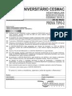 Cesmac-prova e Gabarito 1ºdia Tipo2 Medicina Cesmac 2016.2