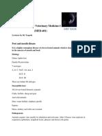 Systemic Veterinary Medicine-I (MED-401)