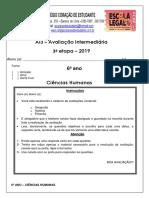Avaliação Multidisciplinar de Ciências Humanas - 6º Ano - Inclusão