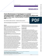 Cost effectiveness of strategies to combat neuropsychiatric conditions in sub-Saharan Africa and South East Asia