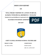 Final Project Report on a Study on Retail Banking With Special Reference - Yes Bank