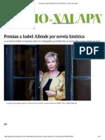 Premian a Isabel Allende Por Novela Histórica - Diario de Xalapa