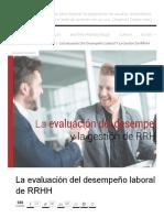 La Evaluación Del Desempeño Laboral y La Gestión de RRHH