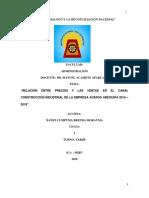 Relación Entre Precios y Las Ventas en El Canal Construcción Industrial de La Empresa Aceros Arequipa 2014