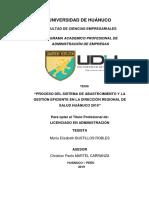 PROCESO DEL SISTEMA DE ABASTECIMIENTO Y LA GESTIÓN EFICIENTE EN LA DIRECCIÓN REGIONAL DE SALUD HUÁNUCO, 2019.