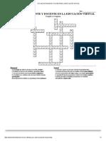 Crucigrama Rol Del Estudiante y Docente en La Educación Virtual
