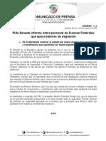 Ccs-senado-boletín-621-261119- Pide Senado Informe Sobre Personal de Fuerzas Federales Que Apoya Labores de Migración