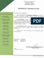 Brgy. Certification Melinda Pabunan