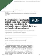 Connaissances Professionnelles Didactiques Des Enseignants de Sciences_ Un Thème de Recherche Encore Récent Dans Les Recherches Francophones