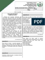 Avaliação Bimestral de Educação Física - 5º Ano - Luana - Dezembro - 2019