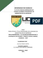 ÉTICA PROFESIONAL Y LA CALIDAD DE SERVICIOS EN LA COOPERATIVA DE AHORRO Y CREDITO COOPAC ANDRELI – HUÁNUCO -  2019