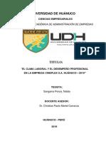 """EL CLIMA LABORAL Y EL DESEMPEÑO PROFESIONAL EN LA EMPRESA CINEPLEX S.A. HUÁNUCO – 2019"""""""