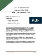 Informe Campo de Entrenamiento Programa Dakar 2022
