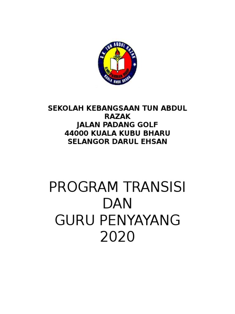 Kertas Kerja Transisi Tahun 1 2020