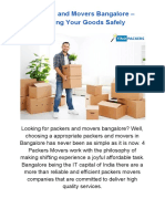 Packers and Movers Bangalore – Shifting Your Goods Safely