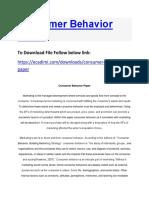 Consumer Behavior Paper
