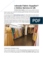 Need a Wholesale Fabric Supplier- Try This Online Services in UK