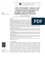 Papadakis(2005)_The Role of Broader Context and the Communication Program in Merger and Acquisition Implementation Success