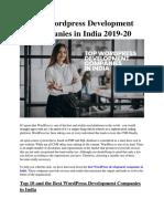 Top 10 Wordpress Development Companies in India 2019-20