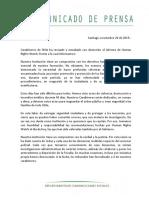 Comunicado de Carabineros de Chile
