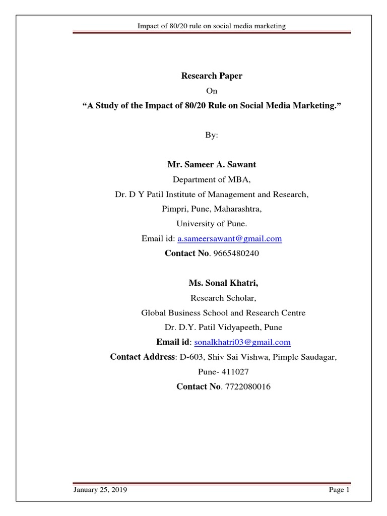 A Study Of The Impact Of 80 20 Rule On Social Media Marketing Sameer A Sawant Social Media Marketing Mass Media
