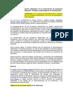 Métodos de Conservación Empleados en La Conservación de Productos Agropecuarios