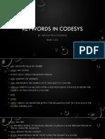Keywords in Codesys