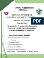 Tratamientos de Residuos_Confinamiento, Procesos de Reciclaje y Control de Residuos, Operaciones Unitarias de Separación