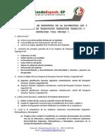 CUESTIONARIO DE PREGUNTAS DE LA ASIGNATURA LEY Y REGLAMENTO DE TRANSPORTE TERRESTRE TRÁNSITO Y SEGURIDAD VIAL UNIDAD 1