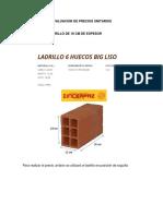 Edificaciones Precio Unitario Muro de Ladrillo